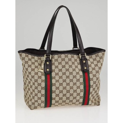 Gucci Beige/Ebony GG Canvas Jolicoeur Large Tote Bag