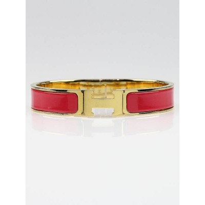 Hermes Red Enamel Gold Plated Clic H GM Narrow Bracelet