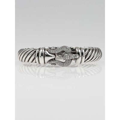 David Yurman 10mm Sterling Silver and Diamond Cable Buckle Bracelet