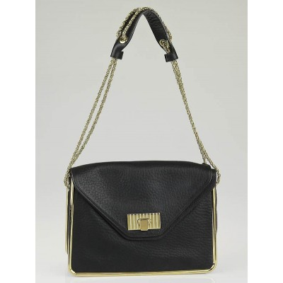 Chloe Black Calfskin Leather Medium Sally Flap Bag