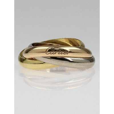 Cartier 18k Gold Classic Trinity Tri-Color Ring Size 7.5