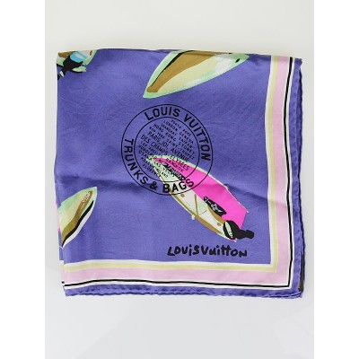 Louis Vuitton Purple Trunks & Bags Silk Square Scarf