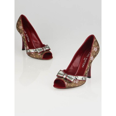 Louis Vuitton Brown Monogram Satin Cherry Blossom Peep Toe Pumps Size 5.5/36