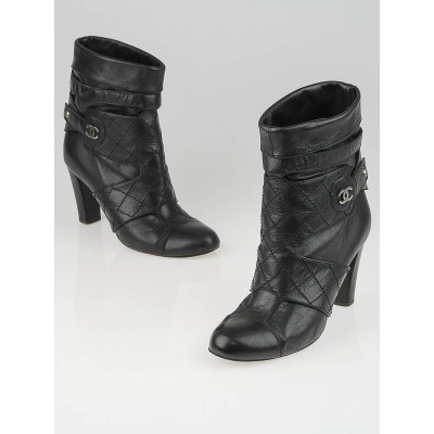 Chanel Black Quilted Leather Harness Ankle Boots Size 6/36.5