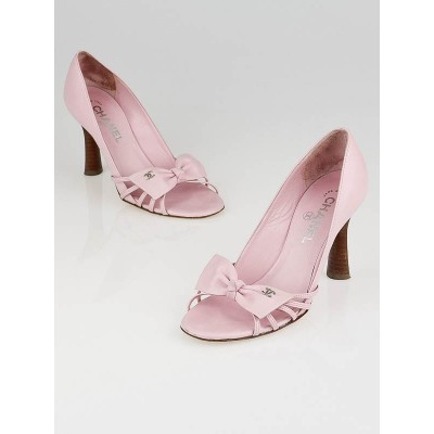 Chanel Pink Leather Bow Peep Toe Pumps Size  6/36.5