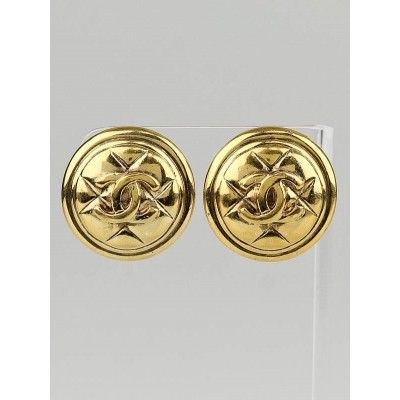 Chanel Vintage Goldtone Metal Quilted CC Logo Clip-On Earrings