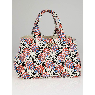 Prada Multicolor Canvas Canapa Stampata Tote Bag