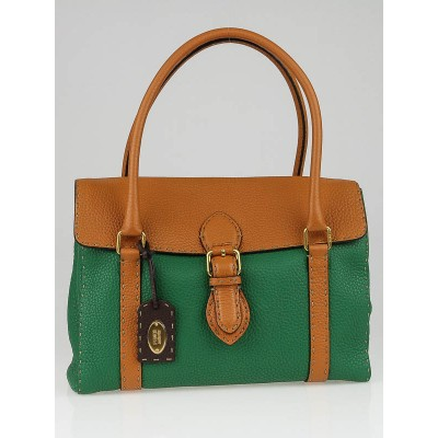 Fendi Green/Orange Selleria Leather Colorblock Medium Linda Bag