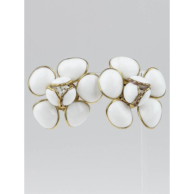 Chanel White Resin and Gold Large Camellia Clip-On Earrings