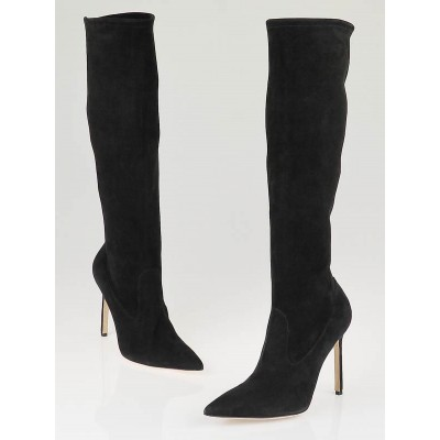 Manolo Blahnik Black Suede Pascalare Tall Boots Size 7/37.5