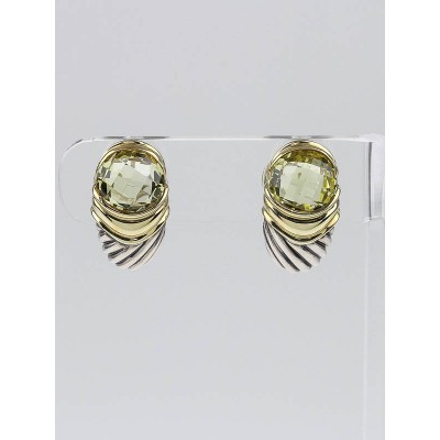 David Yurman Sterling Silver Cable and Citrine Earrings