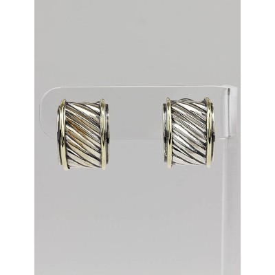 David Yurman Sterling Silver and 14k Gold Cable Earrings