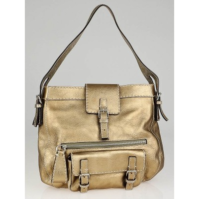 Chloe Gold Metallic Leather Edith Hobo Bag