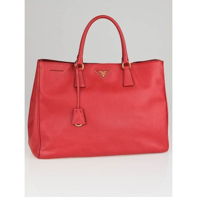 Prada Red Saffiano Lux Leather Extra Large Tote Bag