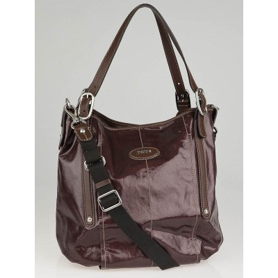 Tod's Brown Coated Canvas G-Bag Sacca Grande Tote Bag