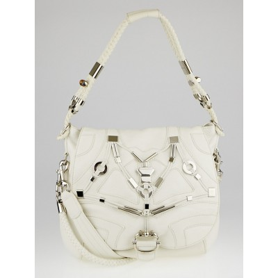 Gucci White Leather Techno Horsebit Large Flap Bag