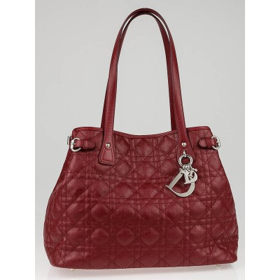 Christian Dior Red Cannage Quilted Coated Canvas Panarea Tote Bag