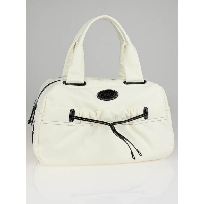 Tod's White Pashmy Bauletto Gommini Grande Satchel Bag