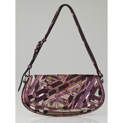 Burberry Purple Python House Check Lilford Evening Bag