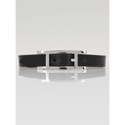 Hermes Black Chamonix and Etoupe Swift Leather Behapi Simple Tour Bracelet Size L
