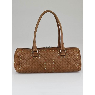 Bottega Veneta Brown Woven Nappa Leather East/West Satchel Bag