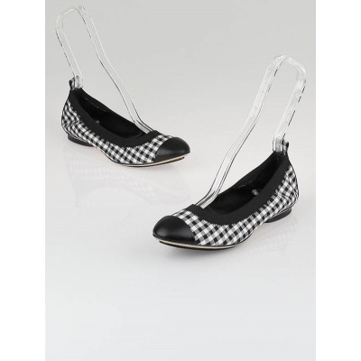 Chanel Black Gingham Fabric Cap Toe Elastic Ballet Flats Size 7.5/38