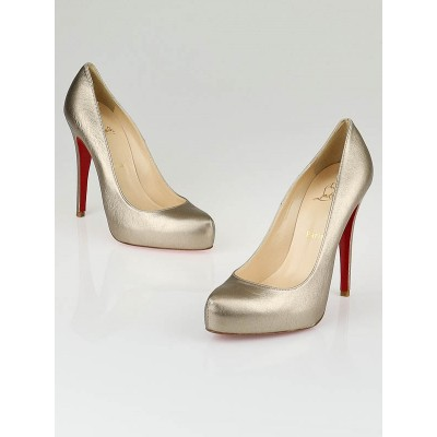 Christian Louboutin Gold Leather Rolando 120 Pumps Size 8/38.5