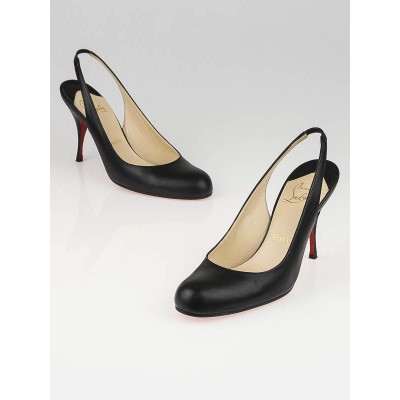 Christian Louboutin Black Leather Horasling 85 Heels Size 6.5/37