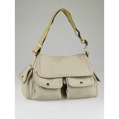 Bottega Veneta Cream Perforated Leather Messenger Bag