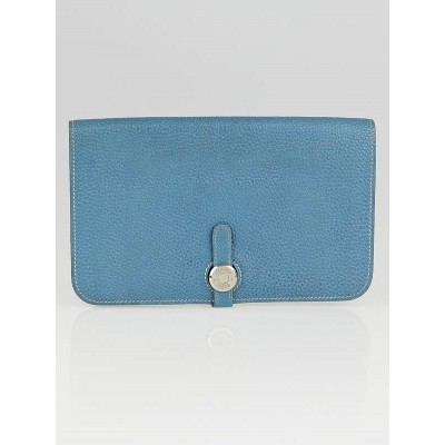 Hermes Blue Jean Clemence Leather Dogon GM Wallet