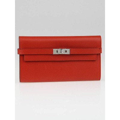 Hermes Sanguine Grain d'H Leather Palladium Plated Kelly Wallet