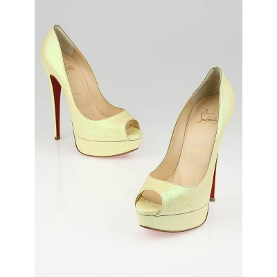 Christian Louboutin Yellow Glitter Lady Peep 150 Pumps Size 6.5/37