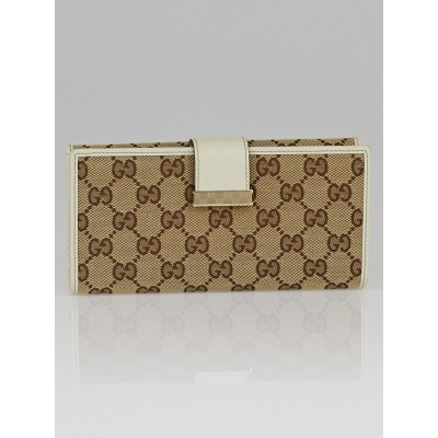Gucci Beige/White GG Canvas Continental Long Wallet