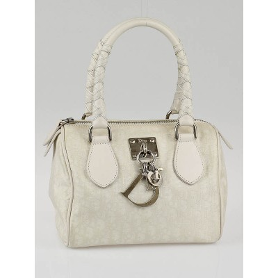 Christian Dior White Diorissimo Canvas Lovely Pocholon Medium Satchel Bag