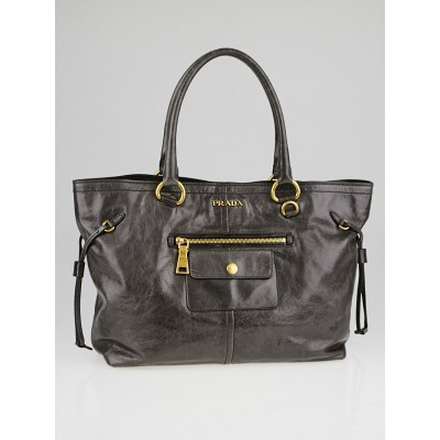 Prada Grafite Vitello Shine Tote Leather Shopping Tote Bag BR4295