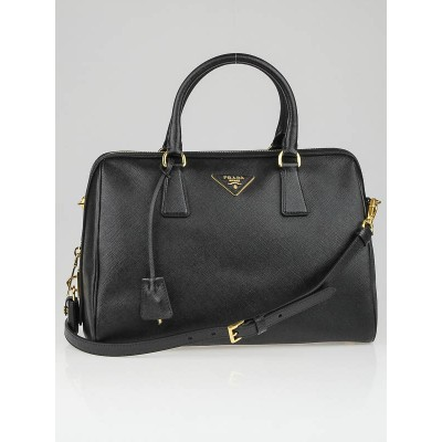Prada Black Saffiano Lux Leather Top Handle Bowler Bag BL0823