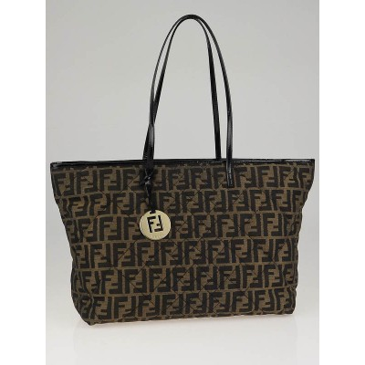 Fendi Tobacco Zucca Print Quilted Canvas Roll Tote Bag