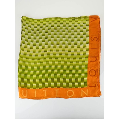 Louis Vuitton Green/Orange Damier Silk Square Scarf