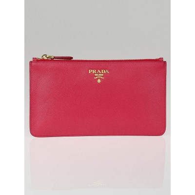 Prada Pink Saffiano Leather Zip Pouch