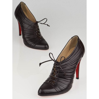 Christian Louboutin Brown Leather Pleated Ankle Boots Size 8/38.5