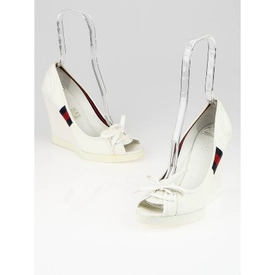 Gucci White Canvas Olimpia Peep Toe Wedges Size 8/38.5