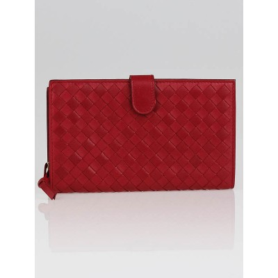 Bottega Veneta Carmino Intrecciato Woven Leather Continental Wallet