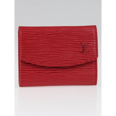 Louis Vuitton Rouge Epi Leather Porte Monnaie Simple Coin Purse