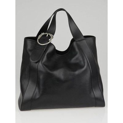 Gucci Black Leather Ribot Horse-Head Large Tote Bag