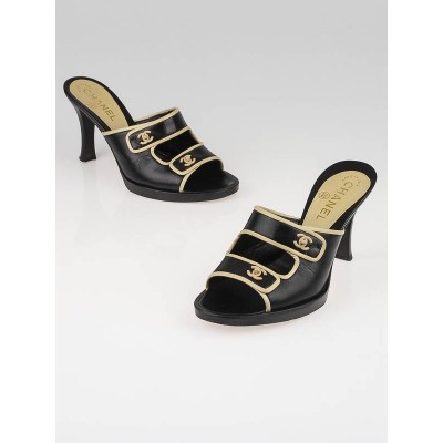 Chanel Black Leather CC Open-Toe Sandals Size 6.5/37