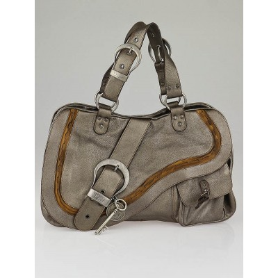Christian Dior Metallic Silver Leather Gaucho Tote Bag