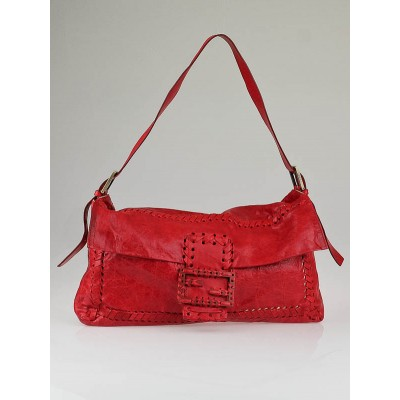 Fendi Red Leather Stitched Large Convertible Baguette Bag
