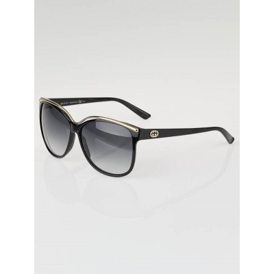 Gucci Black Frame Gradient Tint Cat-Eye Sunglasses-3155/S