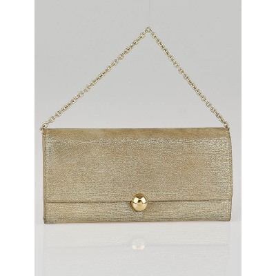 Christian Dior Gold Metallic Leather Clutch Bag