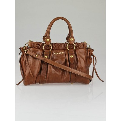 Miu Miu Brown Vitello Lux Leather Soft Shopping Top Handle Bag